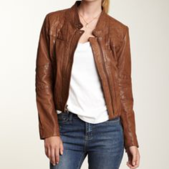 top-rated cheap free delivery discount Cole Haan Women's Camel Brown Leather Jacket